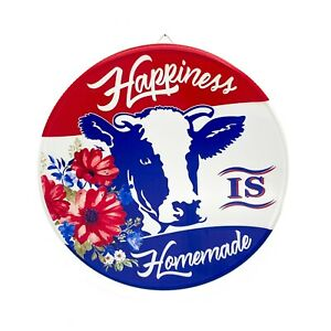 Pioneer Woman Cow Happiness Jar Lid Sign Country Iron Art Plaque 14in x 1.5in