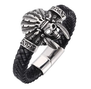 MENS AZTEC BRACELETS SILVER 316L DESIGNER OWL SKULL TIGER EAGLE REAL LEATHER UK
