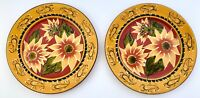 """Set of 2 Pier 1 SUNFLOWER 8-1/4""""  Fall Thanksgiving Floral Salad Plates"""