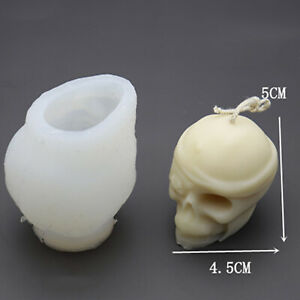 Simulation Skull Head Silicone Mold Plaster Scented Candles Halloween Ornaments