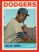 1964 Topps #68 Willie Davis VG-VGEX+ CREASE Los Angeles Dodgers FREE SHIPPING