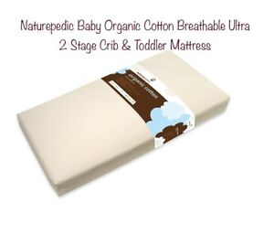 Naturepedic Baby Organic Cotton Breathable Ultra 2 Stage Crib & Toddler Mattress