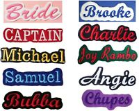 Embroidered Felt Name Patch Iron On Sew - Choose From 24 Fabric Colors & 7 Sizes