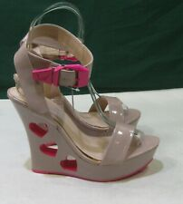 "new skintone/PINK Heart 5.5""Wedge Heel  Ankle Strap Shoes women Size 8.5"