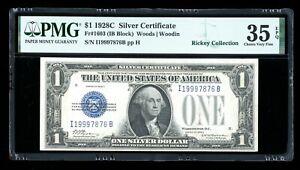 DBR Scarce 1928-C $1 Silver Fr. 1603 IB Block PMG 35 EPQ Serial I19997876B