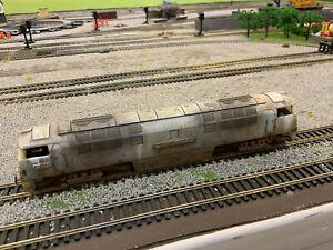 OO gauge scrapyard  diesel loco, heavily rusted and weathered.