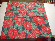 "Poinsettia Bandana 50-50 blend -22"" x 22"" Head Wrap -Scarf -Napkin -Made USA"