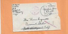 WW II  U.S MILITARY COVER 1942 US NAVY BACKSTAMP  NORTH HOLLYWOOD CA