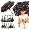 C Forma Paraguas Invertido Umbrella Upside Down Contrario Dual Capa UV Protector