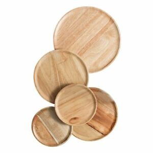 Handmade Natural Wooden Round Food Plate Dish Tray Home Kitchen Tableware Tools