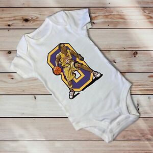 Kobe Bryant No. 8 Lakers in White One Piece For Baby Ages 3-6 Months