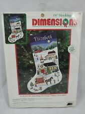 Dimensions Cross Stitch Stocking Kit Christmas Village Fabric Backing is Missing