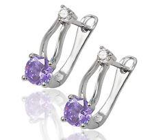 Boucles D'oreilles Style Créole Zircons Clous D'oreille plaqué or 750 18 carats