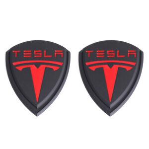 2x Matte Black Red Tesla Logo LH&RH Fender Emblems for Model 3 X Y S Roadster