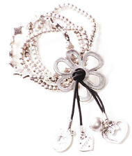 Playful & Sublime Silver Beads,Flower & Love Charm/Stretchable Wrist Band(Zx304)