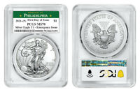 2021 (P) AMERICAN EAGLE $1 EMERGENCY ISSUE PCGS MS70 PHILADELPHIA FDOI Green