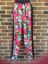 NWT Junior Medium Hawaiian Floral Print Beach Pants Black Multi Lightweight