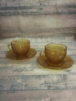 Indiana Glass Tiara Exclusive Amber Daisy Vintage Saucer And Tea Cup ~ Set of 2
