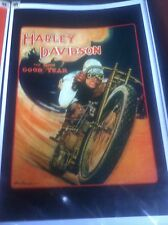 Vintage Harley Davidson Board Tracker Good Year Ad motorcycle Poster Man Cave