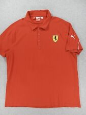 Puma Ferrari Short Sleeve Stitched Logo Polo Shirt (Mens XL) Red