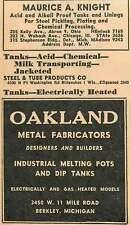 1946 Maurice A Knight Tanks Oakland Pots 11 Mile Rd Berkley Michigan Ad
