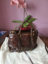 Miu Miu Vitello Lux Shopper Bag Handbag - Dark Brown - BNWT