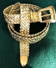 Vtg 80's 90's Belt Metallic Gold Lame Woven Goldtone Buckle Adjusts XS S M L XL