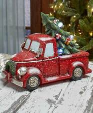 Vintage Red Pickup Truck w/ Lighted Tree Holiday Christmas Accent Statue