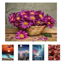FJ- CN_ Rose Sunrise Flower Basket Cross Stitch Embroidery Full Diamond Painting