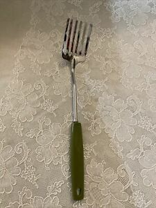Vintage FOLEY FORK MPLS Blend Mix Whip Stainless 6 Tines Avocado Green Handle
