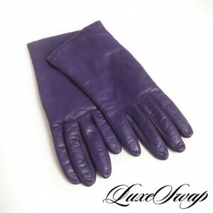 Vintage Charter Club Italy Ultraviolet Purple Cashmere Lined Leather Gloves 6.5