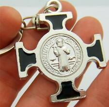"""MRT Large St Benedict Medal Cross Keychain Ring Silver Plate Saint Car Travel 4"""""""