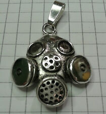 "TIBETAN SILVER  VINTAGE GAS MASK "" CHARM ON LOBSTER OR BAIL OR KEYRING 3X2.5CM"