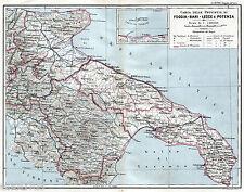 GRANDE CARTA GEOGRAFICA:FOGGIA,BARI,LECCE,POTENZA.TREMITI.Puglia,Basilicata.1899