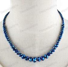 Faceted Glass Crystal Necklace Beads AB Bead Gold Pltd Cobalt Blue Vintage Styl