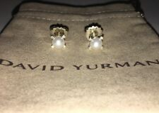 David Yurman Sterling Silver 6mm Pearl & Diamond Stud Earrings