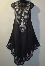 Dress Fits XL 1X 2X Plus Sundress Black White Embroidery Tunic A Shaped NWT 7138