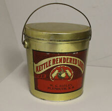 Antique Kettle Rendered Lard Advertising Metal Tin Pail - Pig Graphic