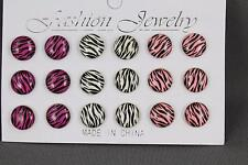 Zebra post earrings 9 pair striped set pack stud post Purple White Pink Black