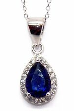 Sterling Silver Blue Sapphire & Diamond 1.91ct Cluster Necklace (925) Free Box