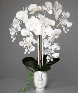 Beautiful latex white orchid arrangement in white women head vase💕💕💕
