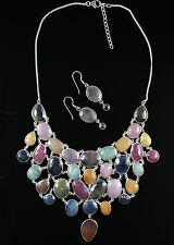 NEW One of a Kind Sterling Silver and MULTI SAPPPHIRE necklace and earrings