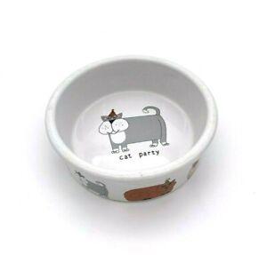 "Signature Cat Dish Pet Bowl 5"" Heavy Stoneware ""Party Cat"" by Ursula Dodge"