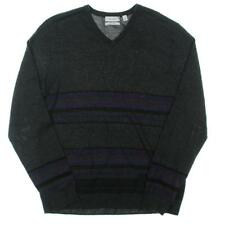 Calvin Klein 6729 Mens Gray Knit Striped Ribbed Trim Pullover Sweater S BHFO