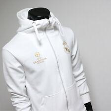 fb54beff703 Real Madrid Full Zip Hoodie Soccer Team Jacket Turtleneck Hood Sweatshirts  White