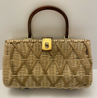 Vintage Purse Beige Wicker Rattan & Brown Lucite Clamshell  Made In Hong Kong