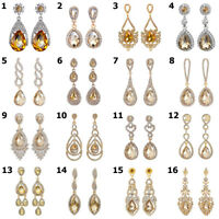 Pierced Champagne/Yellow Crystal Gold Diamante Drop Earrings Various Options