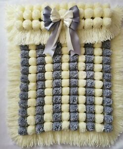 Lemon And Grey Stripe Handmade  Pompom Baby Girl Boy Blanket With Removable Bow
