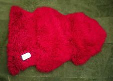 *RARE* 100% GENUINE CURLY Sheepskin Rug - NATURAL WAVY / CRIMPED WOOL - RED
