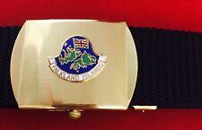 Falkland Islands Military Style Black Nylon Webbing Belt Bright Brass Buckle
